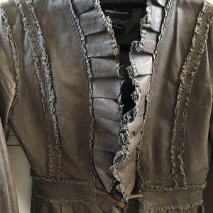 MODA leather ruffled jacket
